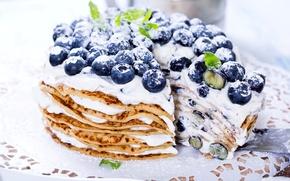 Картинка ягоды, черника, виноград, сладости, торт, крем, десерт, сладкое, голубика, блинчики