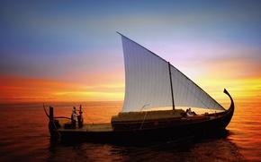 Картинка океан, лодка, вечер, парус, Мальдивы, прогулка
