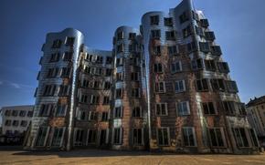Картинка Германия, архитектура, танцующий дом, новая таможня, Дюссельдорф