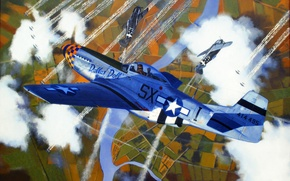Картинка fighter, war, art, airplanes, painting, aviation, ww2, fw 190, P 51 Mustang