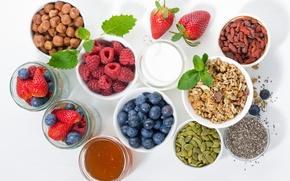 Картинка ягоды, малина, мак, молоко, клубника, мед, семечки, мята, фундук, голубика, мюсли