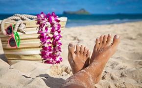 Картинка beach, sea, hawaii, vacation, fingers