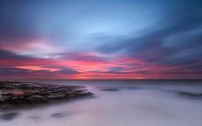 Картинка море, облака, Англия, зарево