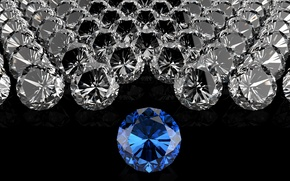 Картинка Темный фон, камешки, бриллианты, синий бриллиант