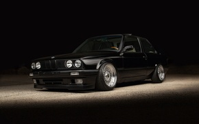 Картинка BMW, черная, E30, stance, BBS rs
