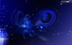 Обои синий, данные, Круги
