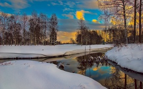 Картинка зима, небо, облака, деревья, природа, отражение, река