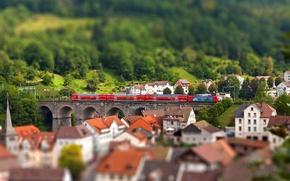Картинка город, поезд, дома, европа, тилт шифт