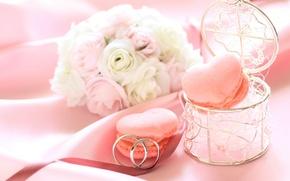 Картинка цветы, розы, кольца, печенье, коробочка