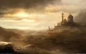 Картинка ветер, пыль, prince of persia, небо, пустыня, город, песок