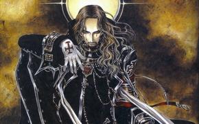 Картинка одиночество, мрак, крест, демон, кровавые слезы, Trinity Blood, черный рыцарь, кровь триединства, Vaclav Havel, by …