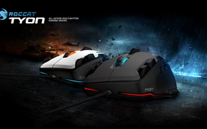 Картинка red, game, rain, blue, button, Roccat, action, mouse, tyon