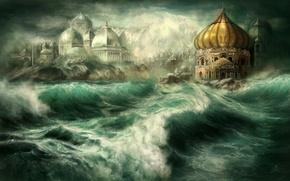Картинка море, волны, город, скалы, остров, арт, купола