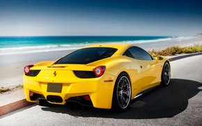 Картинка Ferrari, 458, sea, yellow, tuning, Italia