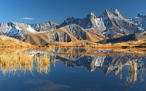 Картинка осень, небо, отражения, горы, озеро, Франция, Альпы, Октябрь