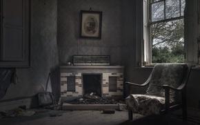Картинка кресло, окно, камин