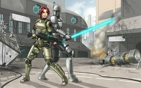 Картинка девушка, улыбка, фантастика, Star Wars, шлем, рыжая, пушка, stormtrooper, fan art, lightsaber, Kunlao, Mirax