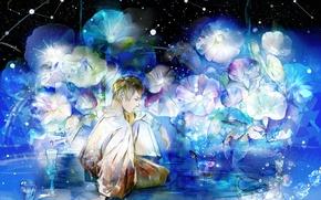 Картинка звезды, цветы, ночь, аниме, арт, парень, saiga tokihito