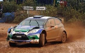 Картинка Ford, Авто, Спорт, Машина, Дождь, Форд, Гонка, Грязь, WRC, Rally, Fiesta, Передок, Пасмурно