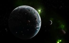 Обои космос, астероиды, Планета