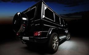 Обои джип, Gelandewagen, гелендваген, Mercedes-Benz, г-класс, вид сзади, tuning, чёрный, тюнинг, мерседес, G-Class, vilner studio, внедорожник, ...