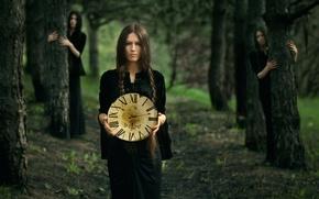 Картинка лес, девушка, часы