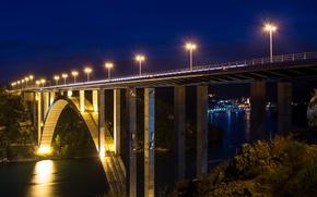 Картинка ночь, мост, огни, река, Хорватия, Most Krka Skradina