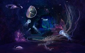 Обои медузы, пещера, кристалы, Jewels of the Deep No DOF