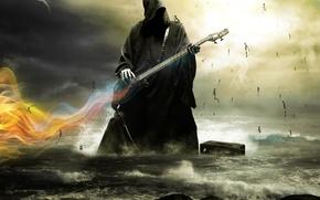 Картинка море, молния, гитара, Смерть