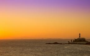 Картинка море, закат, маяк, вечер, Бразилия, sea, sunset, evening, Brazil, Brasil, lighthouse, Сальвадор, Salvador, Bahia, Farol …