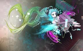 Обои вокалоид, anime, синие волосы, аниме. мику, vokaloid