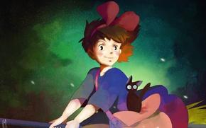 Картинка кошка, девушка, космос, арт, Kiki, Jiji, Kikis Delivery Service