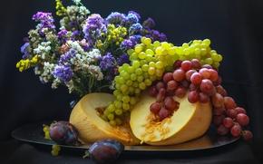 Картинка виноград, сливы, дыня