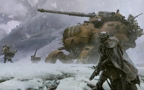 Картинка Арт, destiny, горы, снег, солдаты, военные, оружие, меха