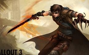 Картинка пламя, меч, очки, когти, fallout 3, fallout, патроны, перчатка
