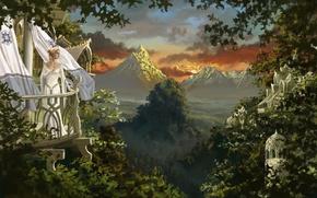 Картинка взгляд, девушка, горы, природа, платье, арт, балкон, фэнтази