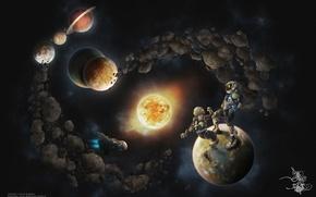 Картинка солнце, космос, звезды, земля, планеты, корабль, марс, космонавты, сатурн