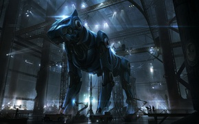 Картинка кошка, огни, люди, животное, провода, завод, механизм, робот, собака, ангар