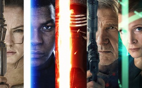 Обои Star Wars Episode VII: The Force Awakens, light saber, The Force Awakens, jedi, faces, black ...