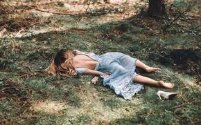 Картинка цветок, трава, девушка, платье, туфля, The End