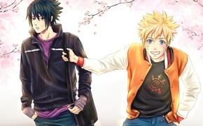 Картинка весна, сакура, Sasuke, Naruto, друзья, naruto, art