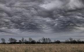 Обои буря, поле, Облака