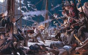 Обои пираты, корабль, трупы, дым, moon, ночь, night, gun, порох, death, pirates, на абордаж, сабли, fight, ...
