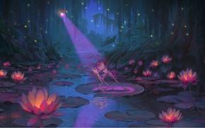 Картинка ночь, светлячки, мультфильм, огоньки, лотосы, Дисней, The Princess and the Frog, Ray, frog Naveen, frog …