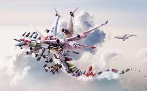 Обои облака, рендеринг, драконы, технологии, полёт, самолёты, двигатели, видов, множество, technological airlines, марок, груз, Dragon fly