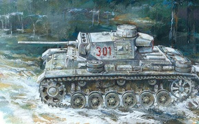 Картинка рисунок, Panzerkampfwagen III, немецкий средний танк, Panzer III, Т-3, Pz.Kpfw. III Ausf. L