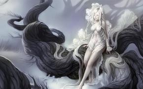 Картинка девушка, дерево, арт, кружево, в белом, белые волосы