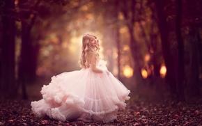 Картинка улыбка, настроение, платье, девочка, аллея, боке