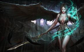 Обои девушка. взгляд, эротика, арт, крылья, магия, перья, поза, оружие