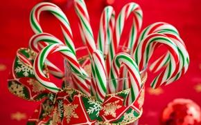 Картинка зима, Новый Год, Рождество, конфеты, сладости, леденцы, Christmas, праздники, New Year, полосатые, рождественские